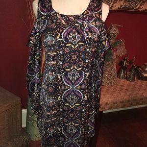 Cold shoulder satin dress